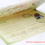 Passport Wedding Invitation in Olive Green